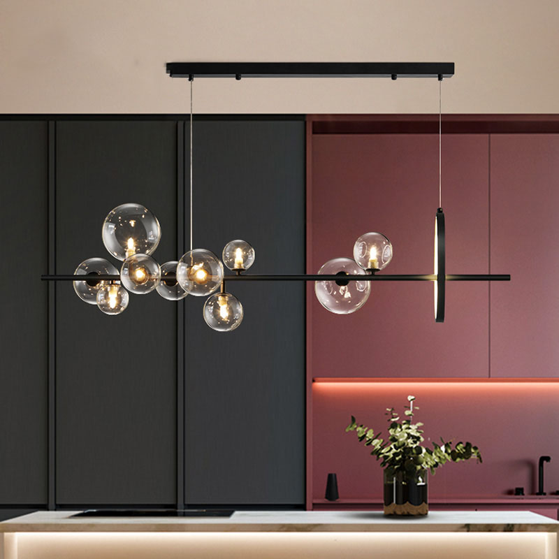 Araña de techo LED moderna para comedor, sala de estar, Bar, anillo, Araña de cristal, enchufes de burbuja G4, accesorios de iluminación para interiores para el hogar