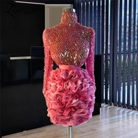 short cocktail party dresses sequins long sleeves women pageant dress formal evening gowns 2021 robe de soiree evening wear