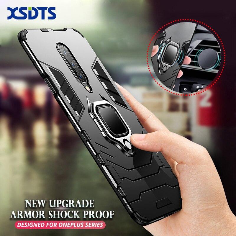 Funda a prueba de golpes XSDTS para OnePlus 8 7 6T 7T Pro, funda de teléfono PC + silicona Iron Man, soporte magnético del coche, funda con soporte