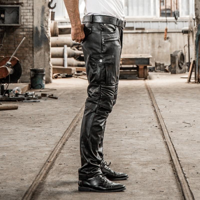 العلامة التجارية مصمم جلد أصلي للرجال مهنة دراجة نارية السائق بنطلون طويل Vintage حجم كبير لينة الجلد المدبوغ السراويل السوداء