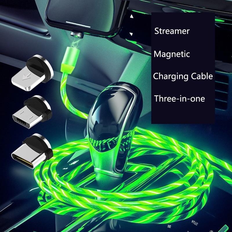 Coche LED resplandeciente fluye USB magnético Cable de carga del teléfono para Peugeot 307, 206, 308, 407, 207, 3008, 406, 208, 508, 301, 2008, 408, 5008