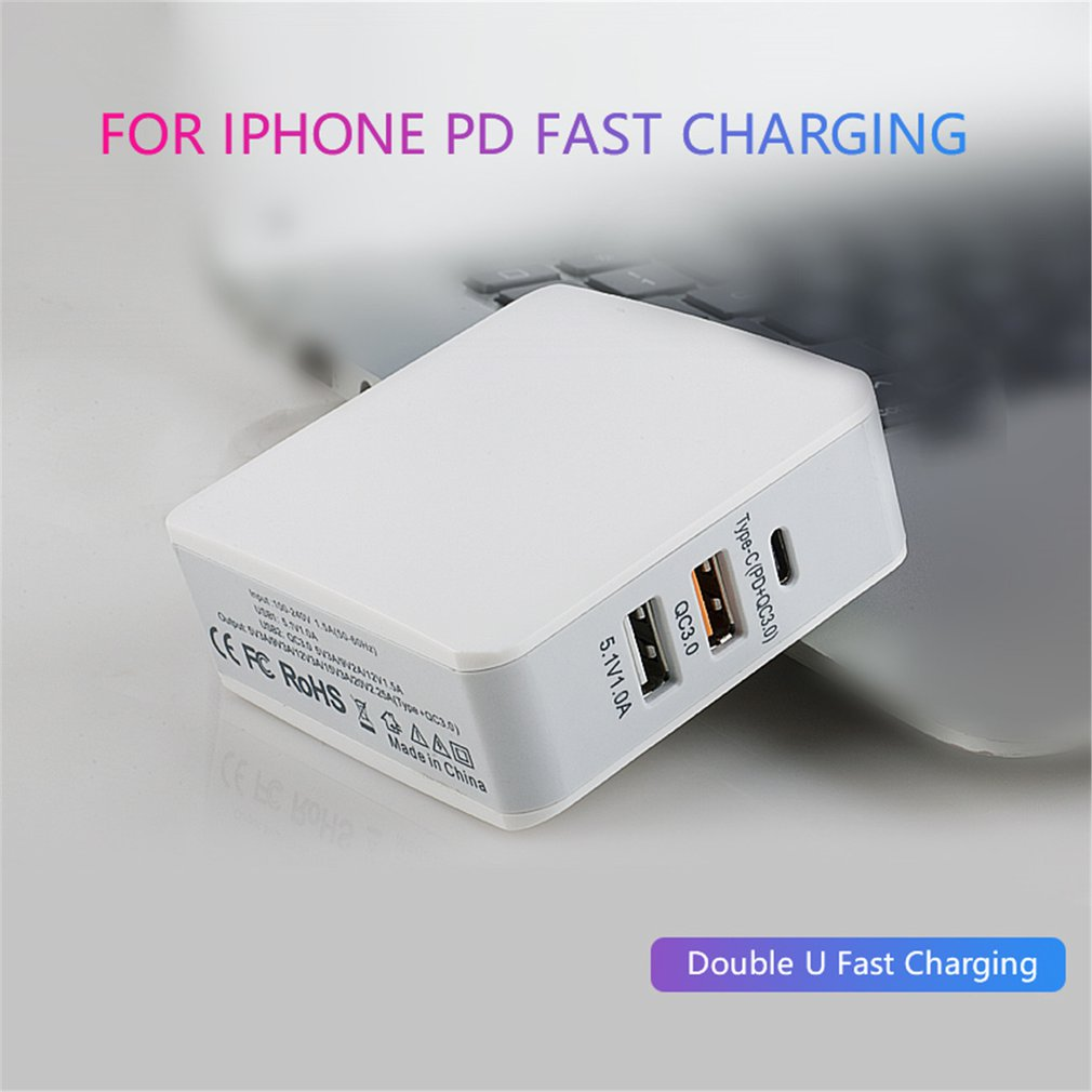 68W PD + QC3.0 cargador de carga rápida USB estación de carga tipo-c adaptador de corriente Universal teléfono móvil de escritorio
