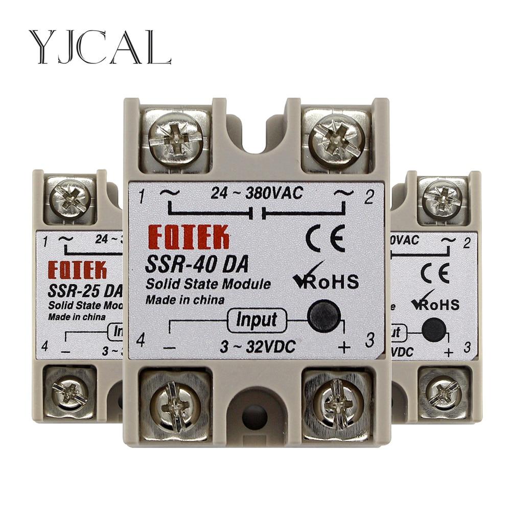 SSR-10DA SSR-25DA SSR-40DA 10A 25A 40A Solid State Relay Module 3-32V Input DC 24-380V AC Output Hig