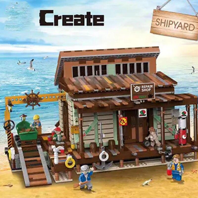 Preventa nueva tienda de pesca antigua astillero creador de ciudades vista de la calle MOC modelo de bloques de construcción Lepinblocks Kits de ladrillos juguete para regalo