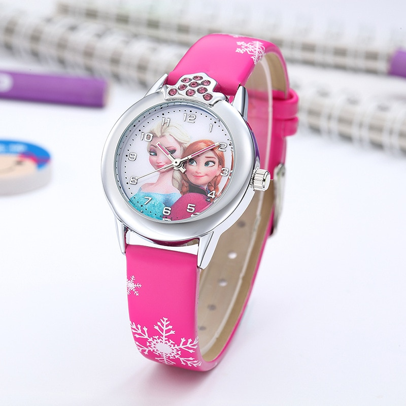 New Children Watch Girls Princess Kids Watches Leather Strap Cute Child Cartoon Wristwatches Gifts f