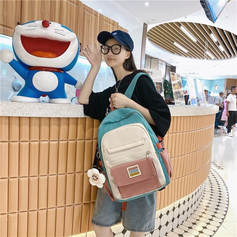 Travel Backpack Kawaii Canvas Women Girls School Bag Fashion Female College Bookbag Black Animal Pen