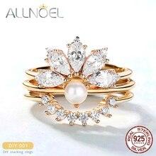 ALLNOEL 2019 chaude solide 925 en argent Sterling anneaux pour les femmes empilant mariée Zircon diamant réel perle anneau de mariage bijoux fins
