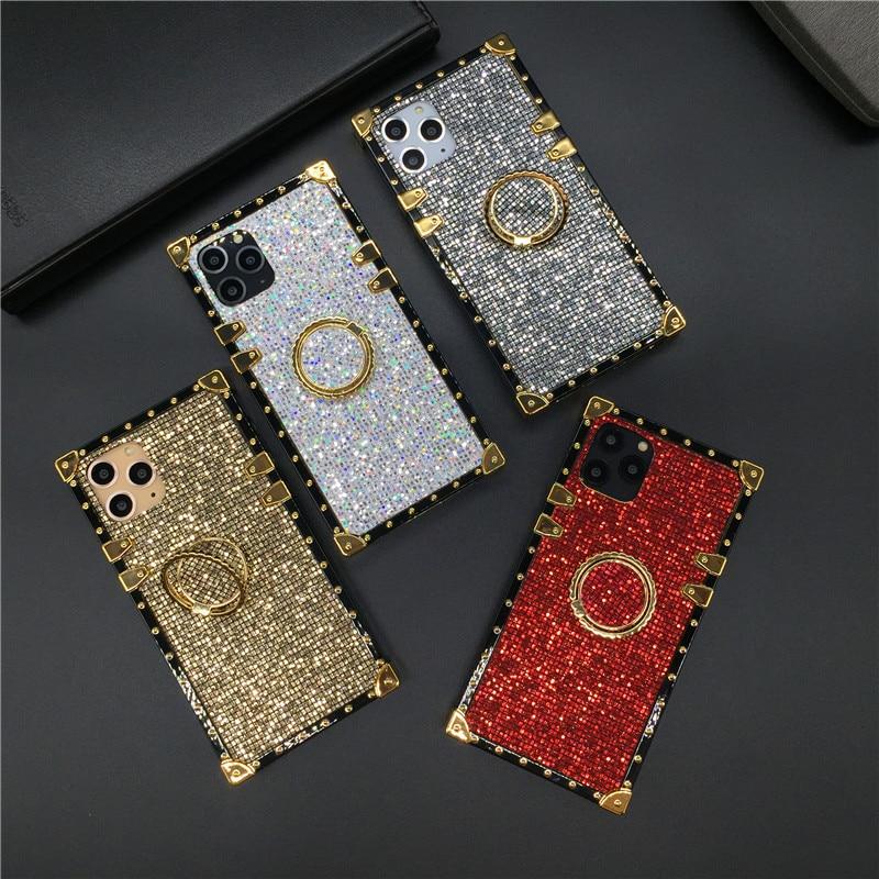 Funda de lujo brillante para Samsung Galaxy S20 Plus Note 10 9 8 S9 S8 S10 funda cuadrada para iphone 11 PRO MAX 7 8 6 6S X XS XR