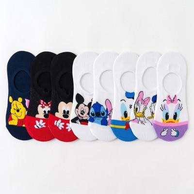 Disney meninas meias mickey mouse curto mulher meias bonito anime verão de algodão menina das mulheres barco meias tornozelo baixo feminino