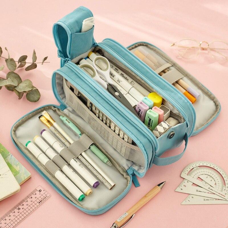 2021 Big Canvas Pencil Bag Multi-layer Kawaii Pencil Case Cute Korean Stationery Pen Case Storage Bag for School Best Gift