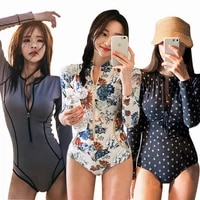 2021 new slim sunscreen long sleeve zipper floral triangle one piece swimsuit for women