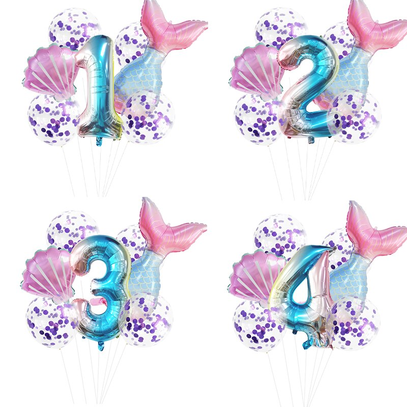Little Mermaid Party Balloons 32inch 0-9 Number Foil Balloon Kids Birthday Wedding Party Decoration