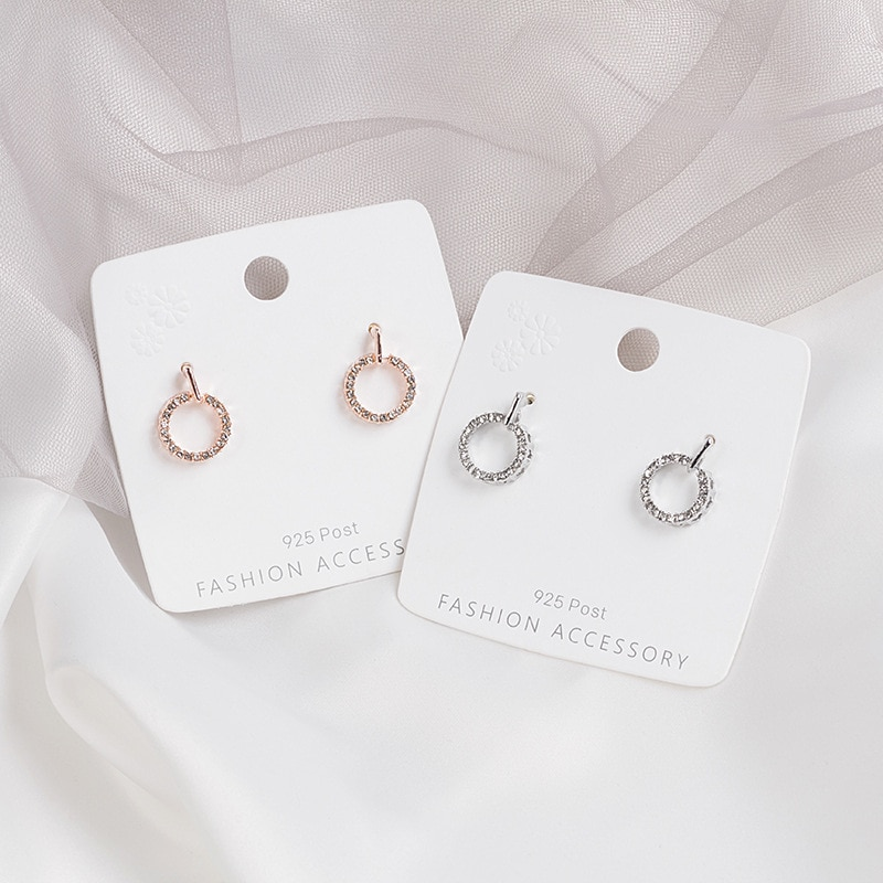 New Korean Brincos CZ Zircon Circle Earrings for Women Simple Rose Gold and Silver Color Round Ear Stud Earring Party Jewelry fanier new charm rose gold flag zircon four ear studs mode ladies simple temperature jewel ear ball recommended marriage ball