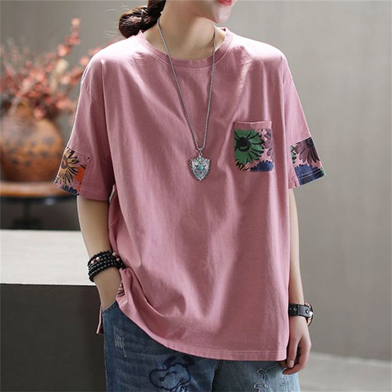 Pure Cotton Art Retro Plus Size New Short-sleeved T-shirt Womens Summer Loose Printing Round Neck Top 2021