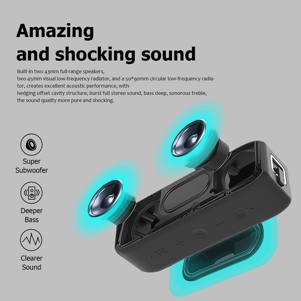 Wing Bluetooth Speaker 20W High Power Long Life Ipx7 Waterproof Portable Outdoor 5.0 Sound Subwoofer TWS Double Speakers enlarge