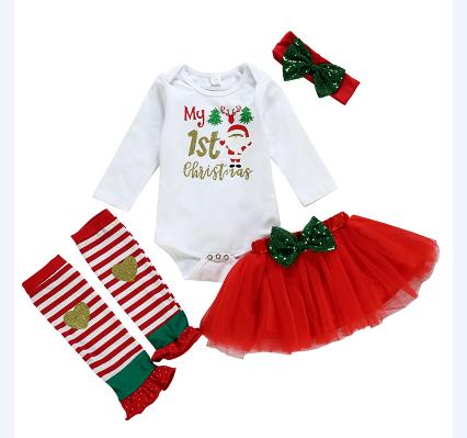 3 Styles Newborn Baby Girl Xmas Romper Dress Leg Warmers Outfits Christmas Clothing Set Bow Lace Ski