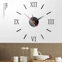 diy wall clock modern design watch clocks 3d acrylic mirror stickers living room home office decor quartz needle europe horloge