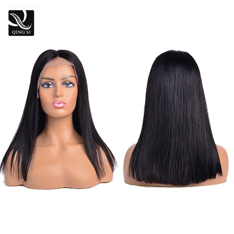 Peluca de Bob corto recta, pelucas de cabello humano brasileñas con frente de encaje, parte profunda 13x4, peluca de pelo Remy para mujeres, línea de pelo Natural para bebés pre-desplumados
