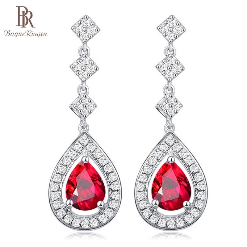Bague Ringen pendientes de gota de agua de rubí para mujeres, pendientes de gota de moda, temperamento femenino plata 925, regalo de fiesta, joyería