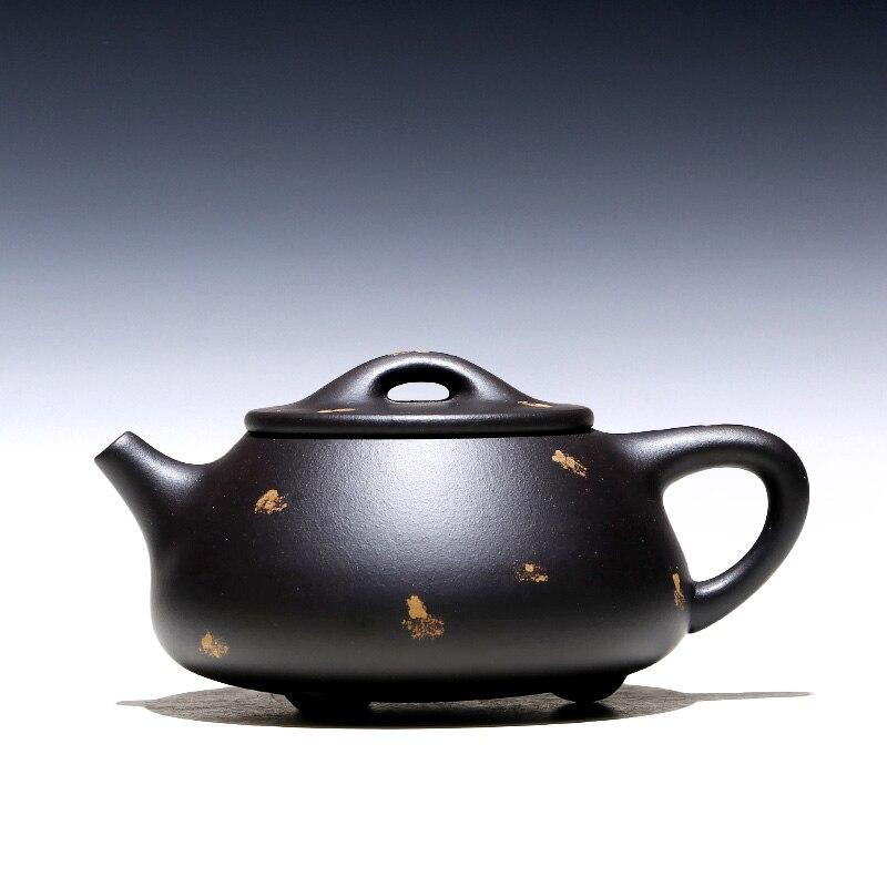 TaoYuan 】 إبريق شاي yixing xin-sheng li نقي يدوي, في الأسود الطين JingZhou حجر القرع مغرفة 240 cc