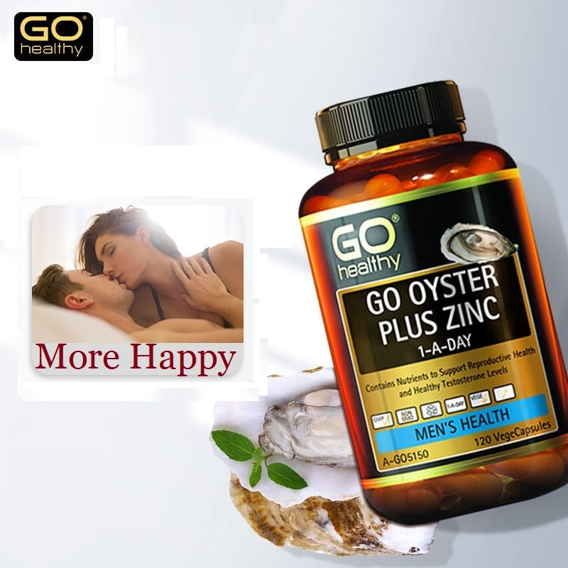 NewZealand Go Healthy Oyster Zinc Supplement 120 Capsules for Men Health Vitality Immune Support Sexual Reproductive Wellbeing