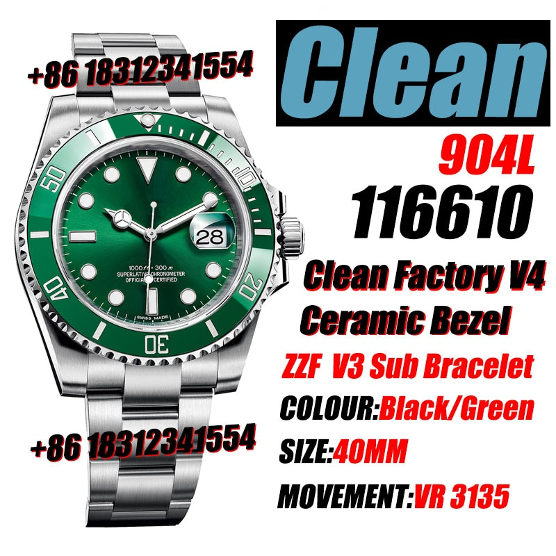 Men's Mechanical Watch 116610 Green/Black CF Clean Factory V4 Ceramic 904L Stainless Steel Case VR3135  Wateroof  Watch