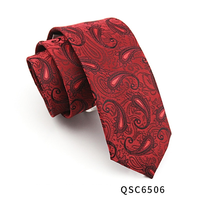 High Quality 2019 New Designers Brands Fashion Business Casual 7cm Slim Ties for Men Necktie Red Paisley Wedding with Gift Box
