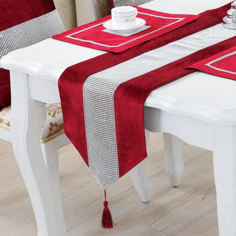 الأوروبية الكلاسيكية الجدول العلم مفارش المائدة لحفل زفاف عيد ميلاد المنزل مفرش المائدة الزينة الجدول العدائين الماس الجدول حصيرة