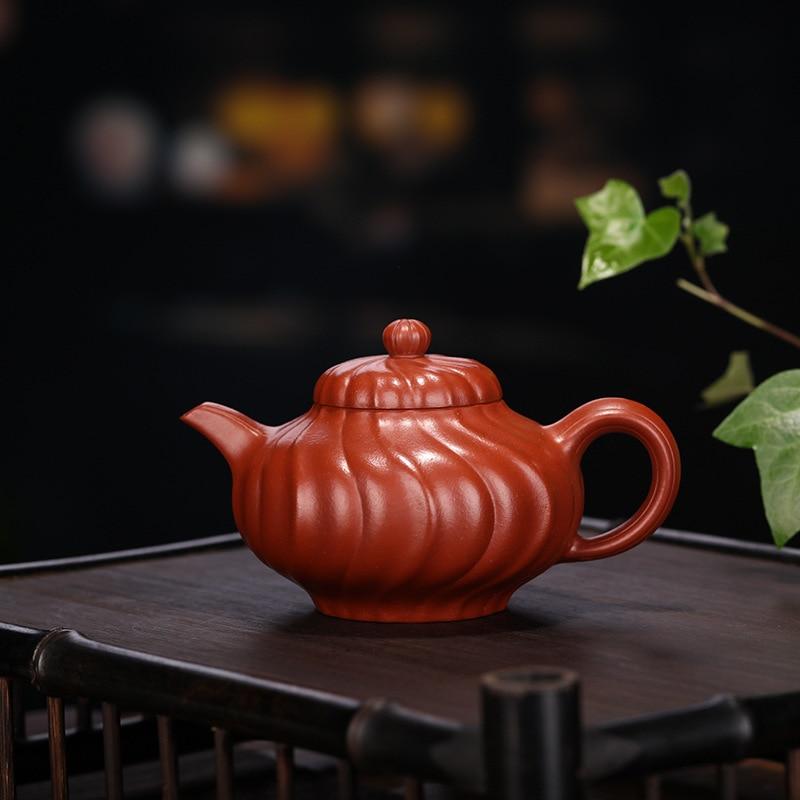 Yixing purple clay teapot Dahongpao tendon pattern wind ling pot Kung Fu tea set teapot 210ml