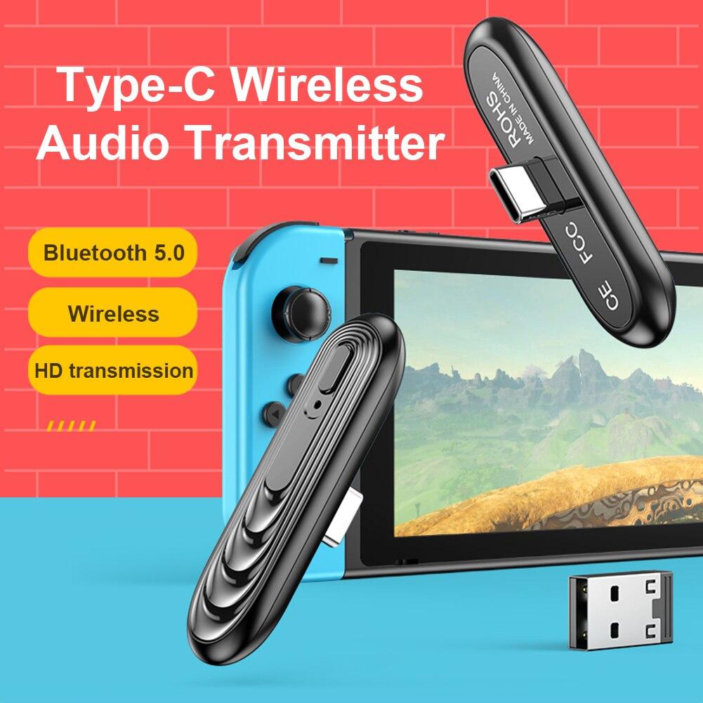 5.0 transmissor receptor tipo c usb adaptador de áudio sem fio para nintendo switch para ps4 console conversor para pc