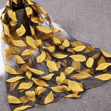 Nouveau foulard en soie chaude femmes de luxe hijab broderie longue écharpe noir dentelle fil foulards mode châle fille accessoires 65x170cm