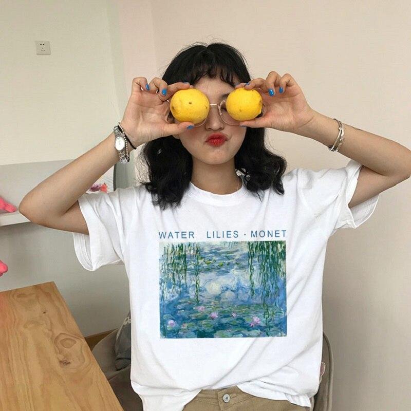 Nénuphars impression Monet haut pour femme Vintage été mode nouvelle mode S-2XL lettre dessin animé peinture à lhuile Harajuku T-Shirt col rond