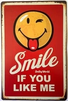 smiley world smile if you like me tin sign art wall decoration vintage decoration signcoffee wall decoration