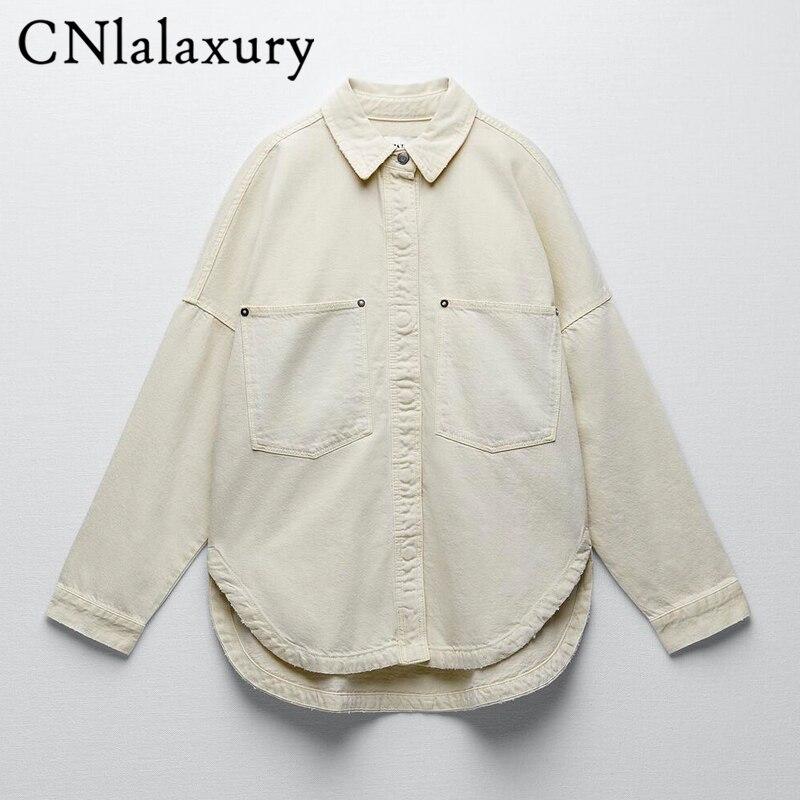 Cnlalaxبشاشة دينم كبيرة الحجم غير رسمية على الموضة جديدة لعام 2020 للسيدات من cnlalaxأصلية بأكمام طويلة ملابس خارجية للنساء