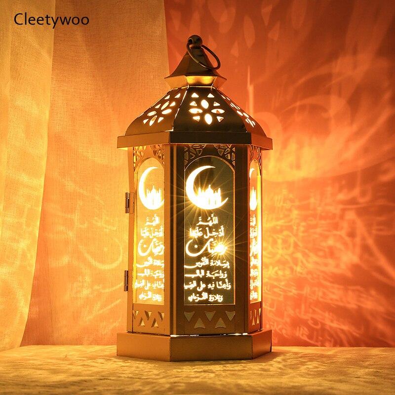 Ranadan ramadan lanterna eid mubarak lâmpada de ferro artesanato árabe lanterna led luzes mubarak decoração para casa muçulmano festa