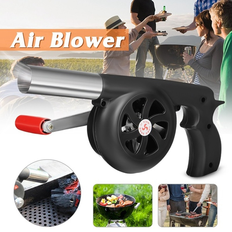 Outdoor Cooking BBQ Fan Air Blower For Barbecue Fire Bellows Hand Crank Tool for Picnic Camping stov