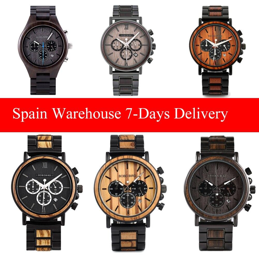 خشبية الرجال الساعات بوبو الطيور اليدوية ساعة كوارتز العسكرية كرونوغراف من الفولاذ المقاوم للصدأ رجل ساعة اليد شعار مخصص دروبشيبينغ