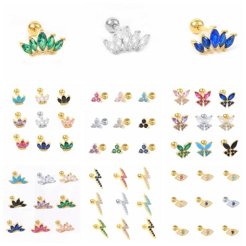 Женские-серьги-гвоздики-из-серебра-925-пробы-с-радужной-овальной-циркониевой-короной-и-бабочкой