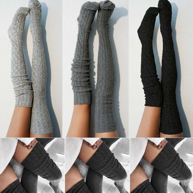 La señora y las mujeres las niñas de punto de Cable Extra largo de elegante rodilla liso Casual suave medias de algodón