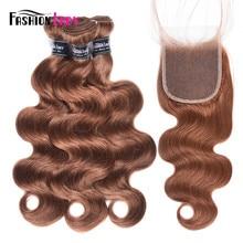Mèches brésiliennes Non Remy Body Wave-Fashion Lady   Cheveux naturels pré-colorés, couleur brun 4 #, Extensions avec Closure, lots de 3