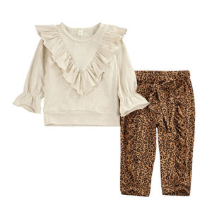 Pudcoco Infant Baby Girl Clothes Long Sleeve Ruffle Tops Sweatshirt+Leopard Print Pants Cotton Autumn Bbay Outfits Set 6M-5Y