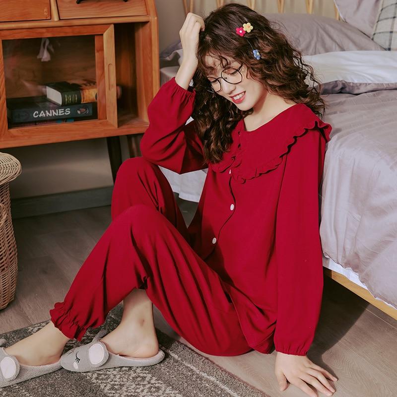 Pijamas de algodón para mujer, conjuntos de pijama y ropa de cama de color rojo festivo para boda, Top de manga larga + Pantalones largos, pijamas, ropa de casa, PIJAMAS