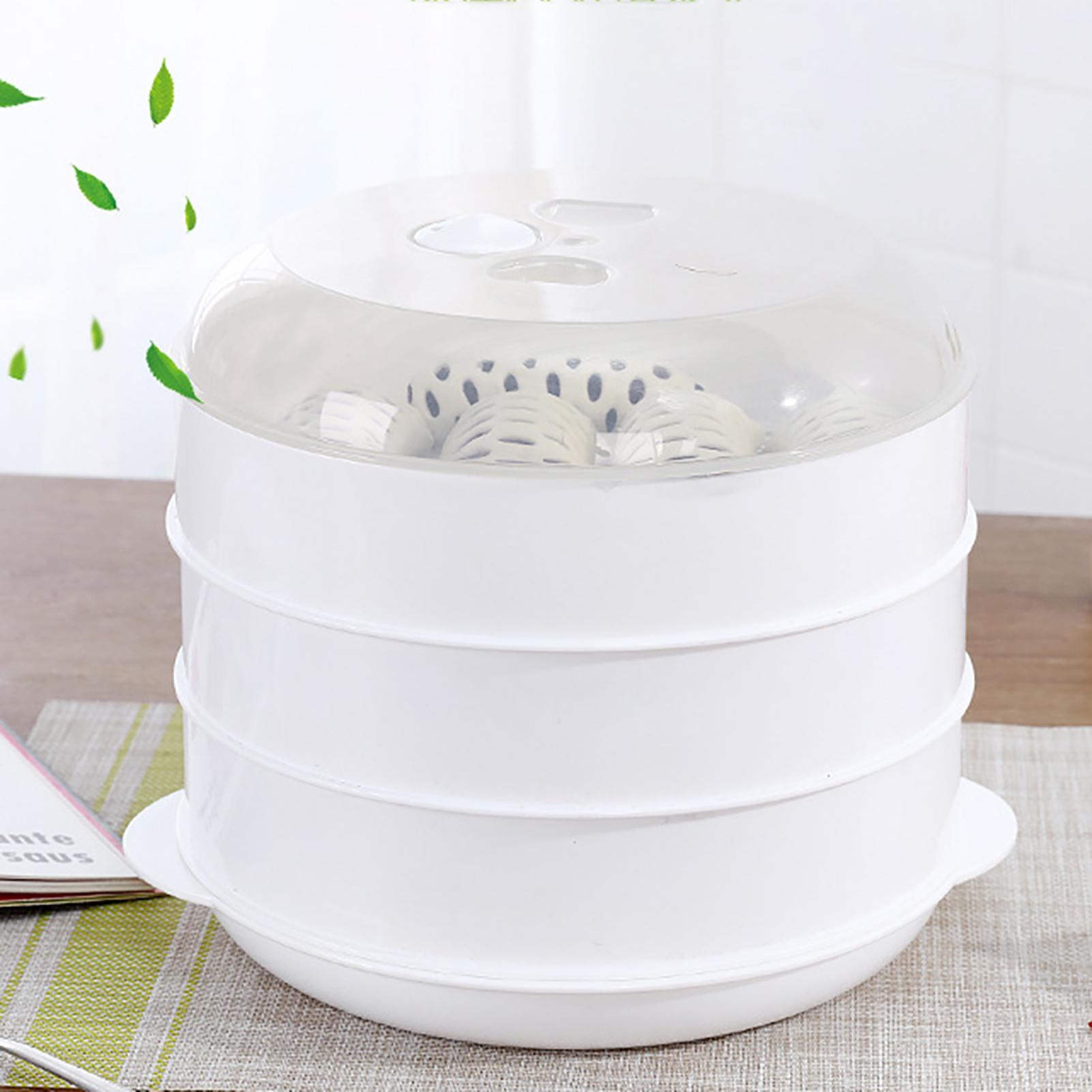 Microwave Oven Steamer Round Plastic Bowl Dish Bun Dumpling Heater with Lid
