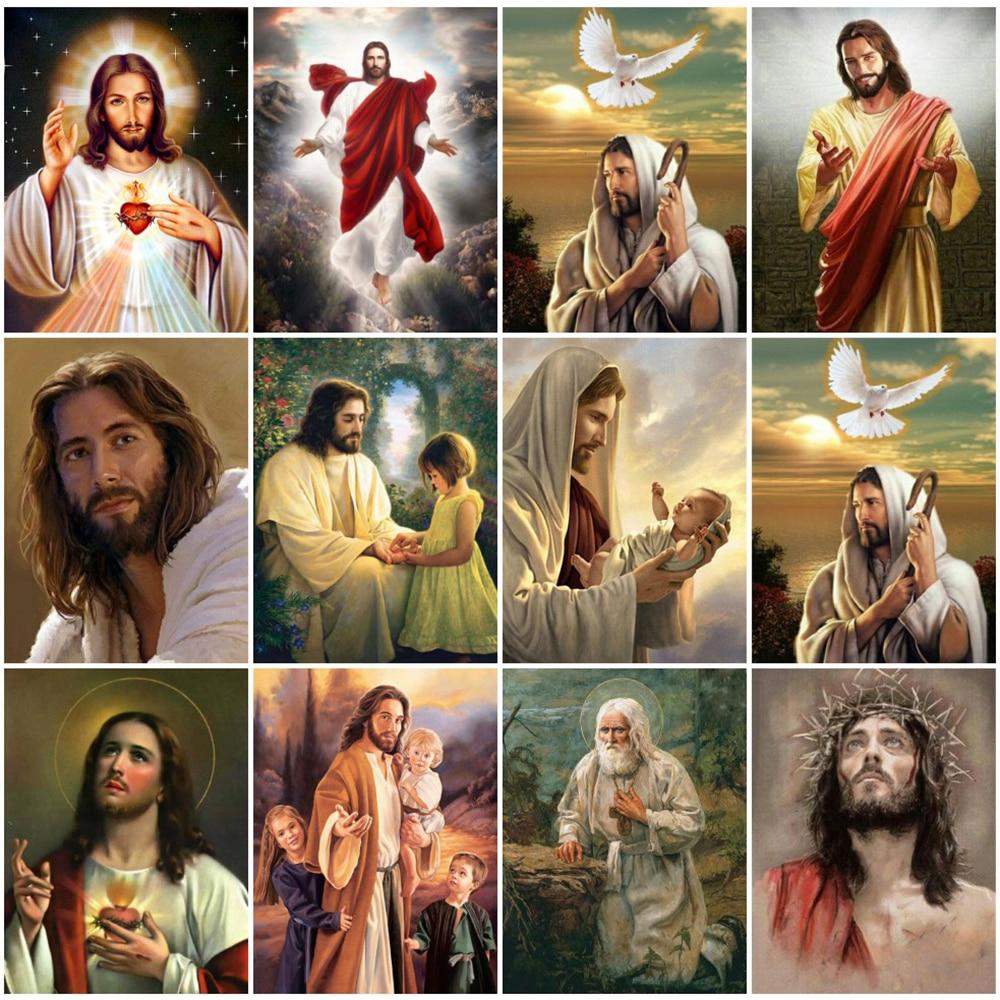 Алмазная живопись, портрет «сделай сам», вышивка бисером, алмазная вышивка с Иисусом, Набор для вышивки крестиком стразы, искусство, Настенн...