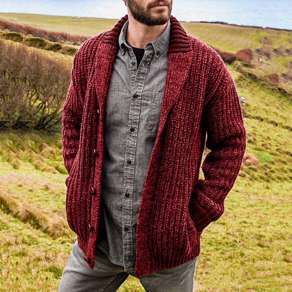 New Winter Men's Casual Warm Sweater Knitted Cardigans Fluffy Knitwear Top Solid Color Long Sleeve Lapel Coat Single-Breasted
