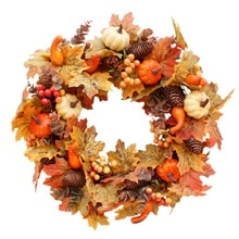 Kunstmatige Krans Herfst Kerst Thanksgiving Thuis Deur Krans Pompoen Katoen Pine Cone Garland Muur Opknoping Decor