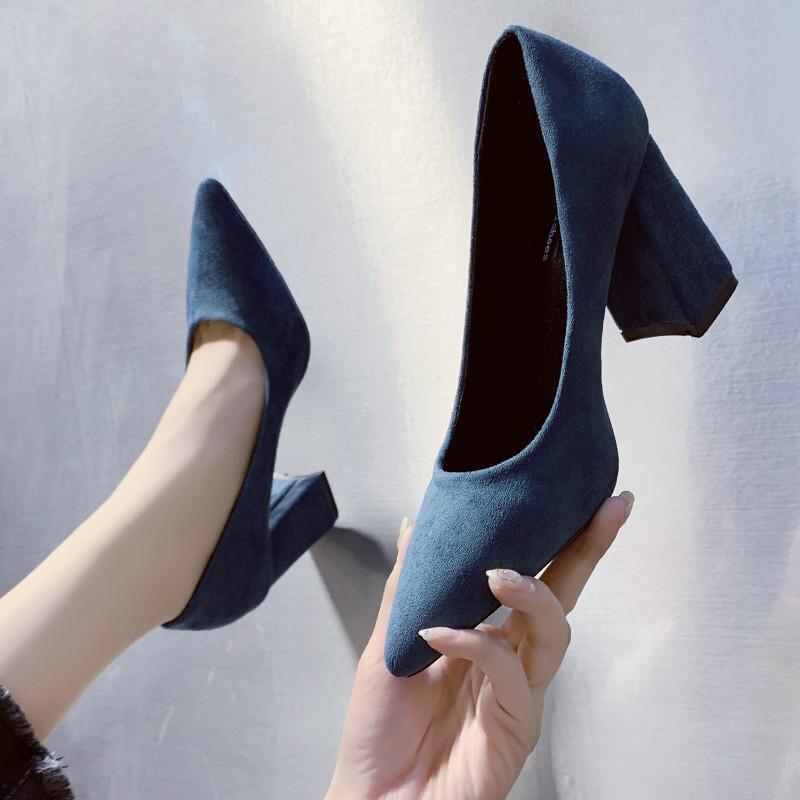 2020 otoño Mujer señora puntiaguda Sexy tacones altos negro con grueso con...