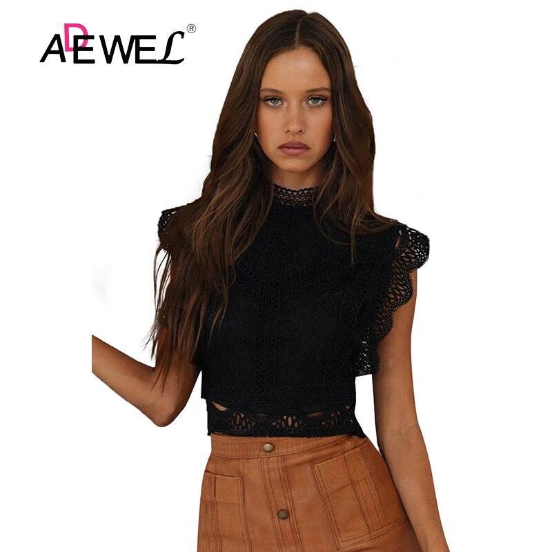 ADEWEL-camiseta negra De cuello alto para Mujer, Encaje Vintage De Color sólido...
