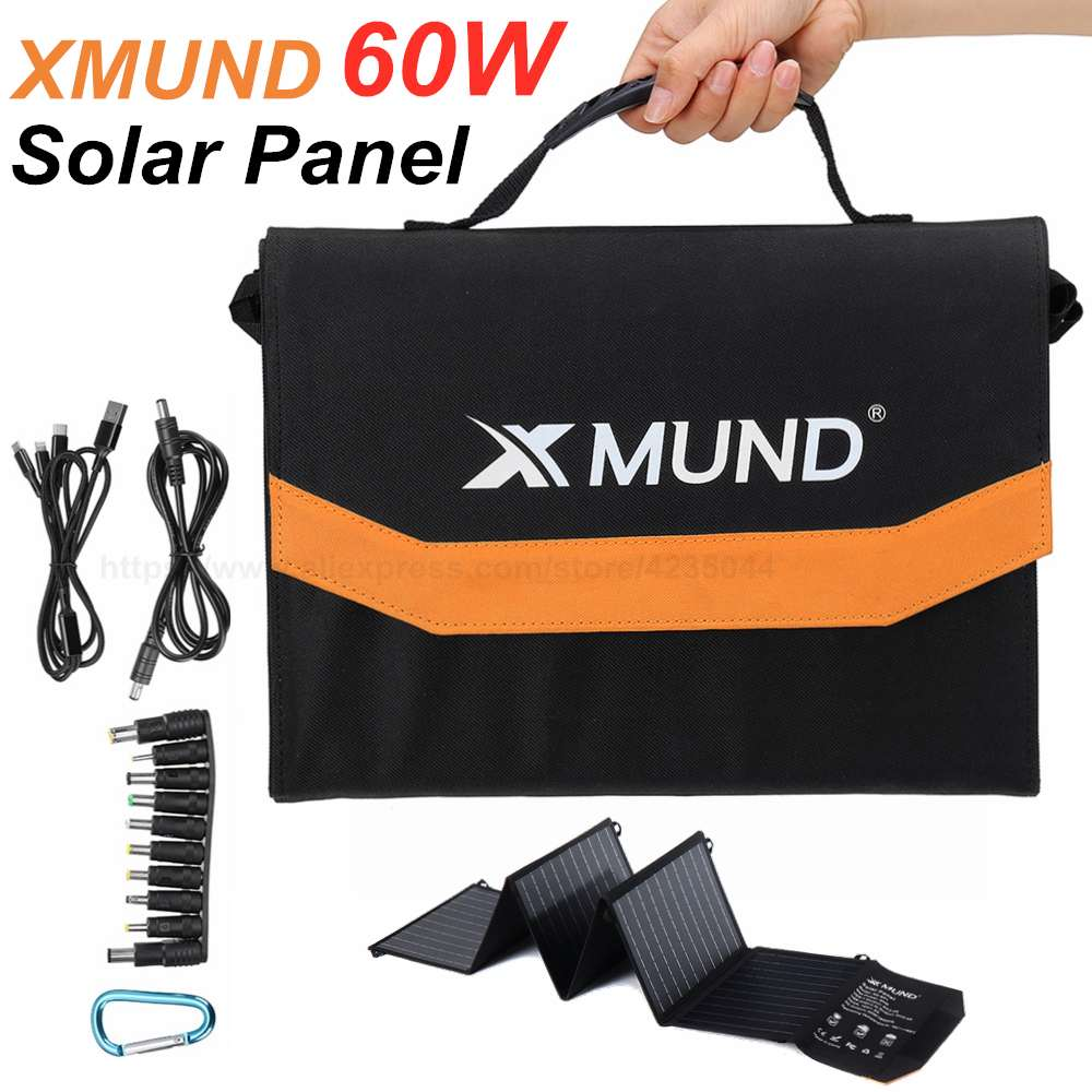 XMUND XD-SP1 60W 18V Foldable Solar Panel Power Bank Car Van Battery Charger System Solar Panel Kit Complete For Outdoor Camping