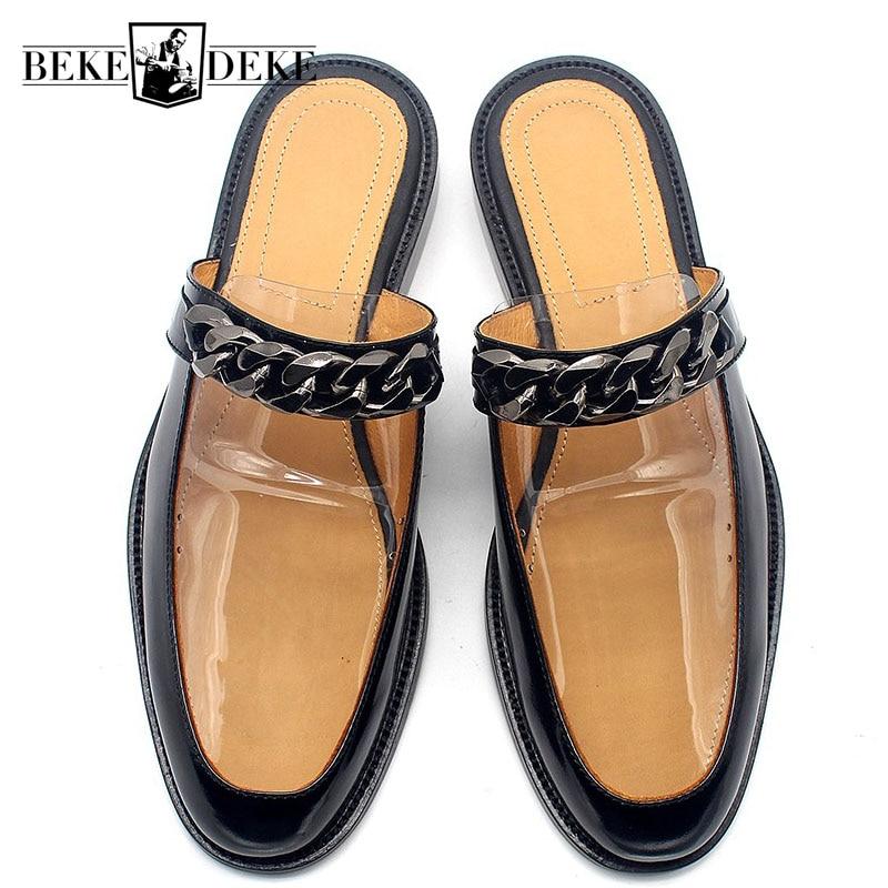 Zapatillas de piel de vaca de diseño de pasarela para hombre con cadena hecha a mano, sandalias de cuero genuino, Sandalias planas, sandalias casuales, zapatillas deslizantes